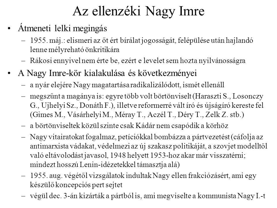 Az ellenzéki Nagy Imre Átmeneti lelki megingás –1955. máj.: elismeri az őt ért bírálat jogosságát, felépülése után hajlandó lenne mélyreható önkritiká