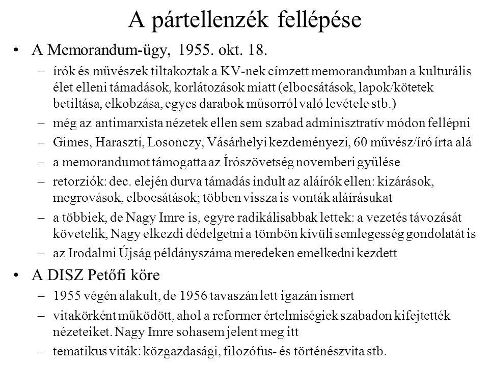 A pártellenzék fellépése A Memorandum-ügy, 1955. okt. 18. –írók és művészek tiltakoztak a KV-nek címzett memorandumban a kulturális élet elleni támadá