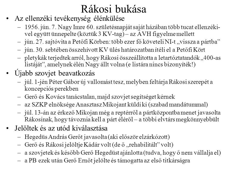 Rákosi bukása Az ellenzéki tevékenység élénkülése –1956. jún. 7. Nagy Imre 60. születésnapját saját házában több tucat ellenzéki- vel együtt ünnepelte