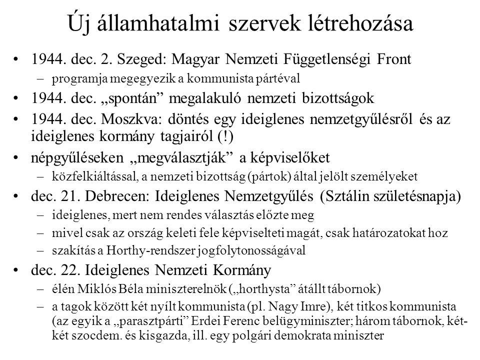 """Új államhatalmi szervek létrehozása 1944. dec. 2. Szeged: Magyar Nemzeti Függetlenségi Front –programja megegyezik a kommunista pártéval 1944. dec. """"s"""