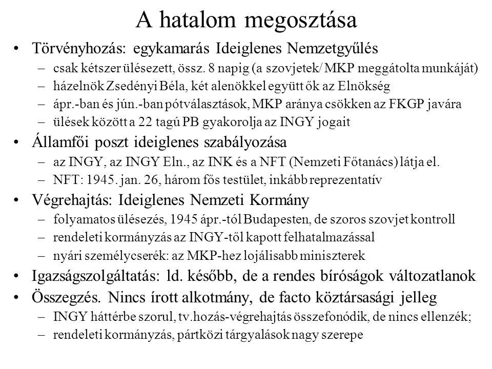 A hatalom megosztása Törvényhozás: egykamarás Ideiglenes Nemzetgyűlés –csak kétszer ülésezett, össz. 8 napig (a szovjetek/ MKP meggátolta munkáját) –h