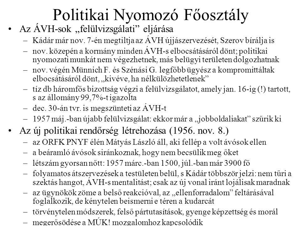 """Politikai Nyomozó Főosztály Az ÁVH-sok """"felülvizsgálati"""" eljárása –Kádár már nov. 7-én megtiltja az ÁVH újjászervezését, Szerov bírálja is –nov. közep"""