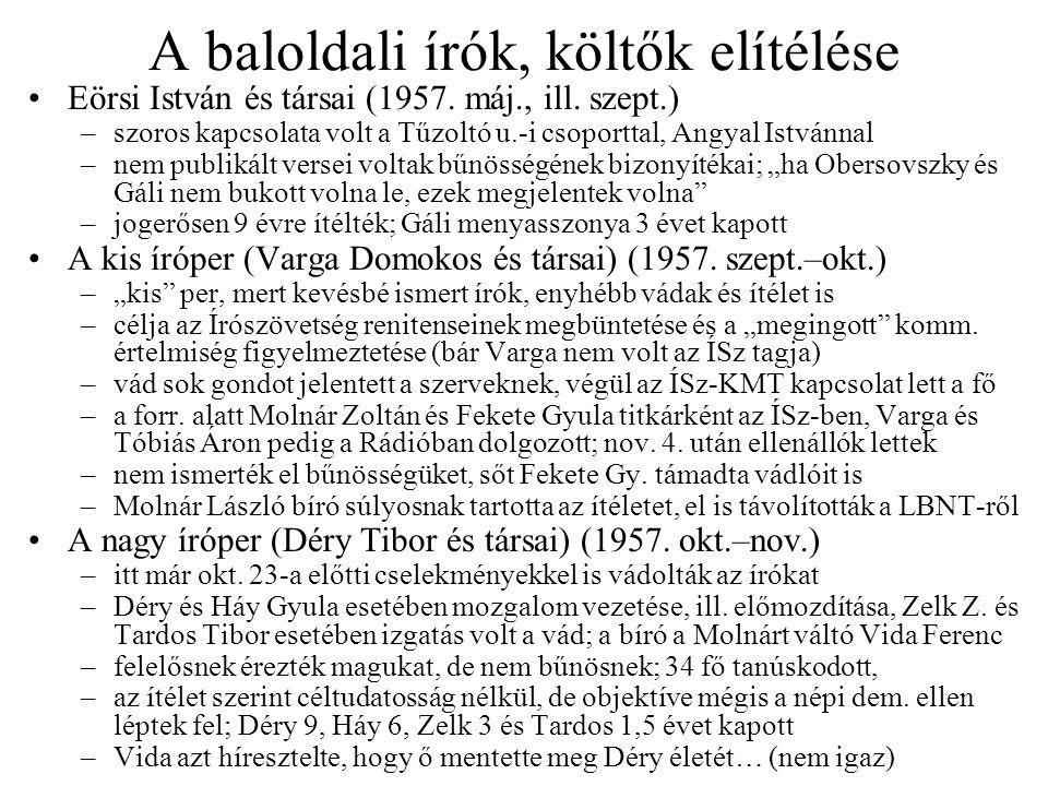 A baloldali írók, költők elítélése Eörsi István és társai (1957.