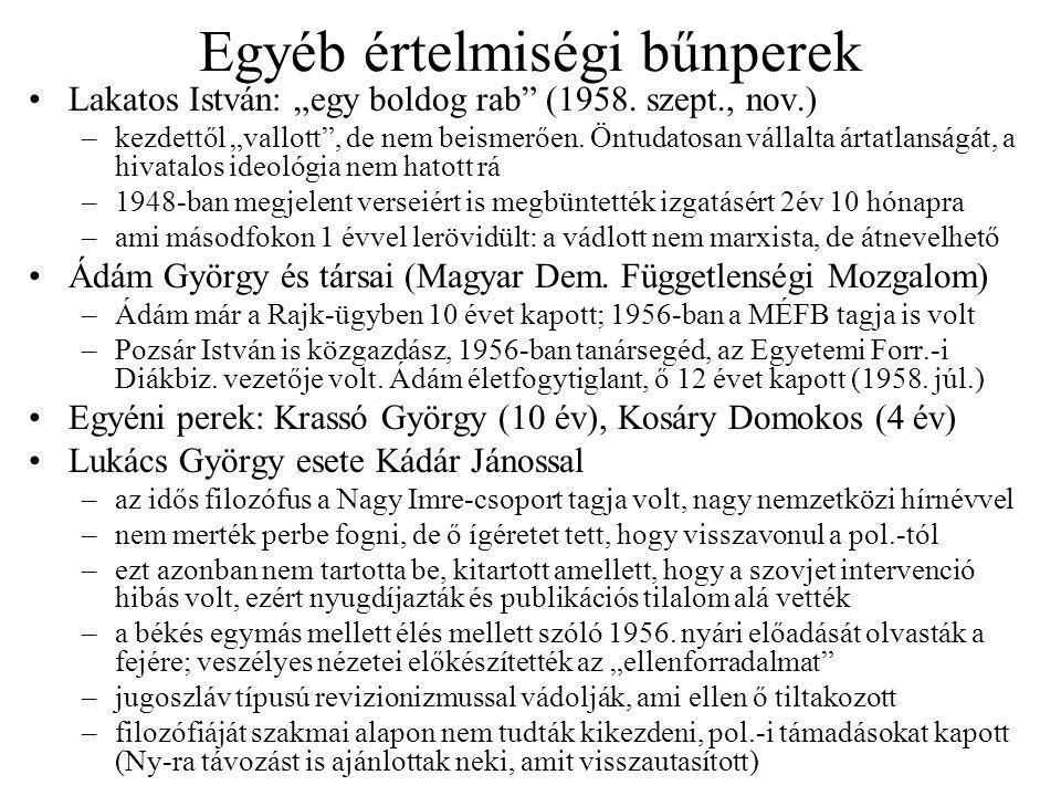 """Egyéb értelmiségi bűnperek Lakatos István: """"egy boldog rab (1958."""