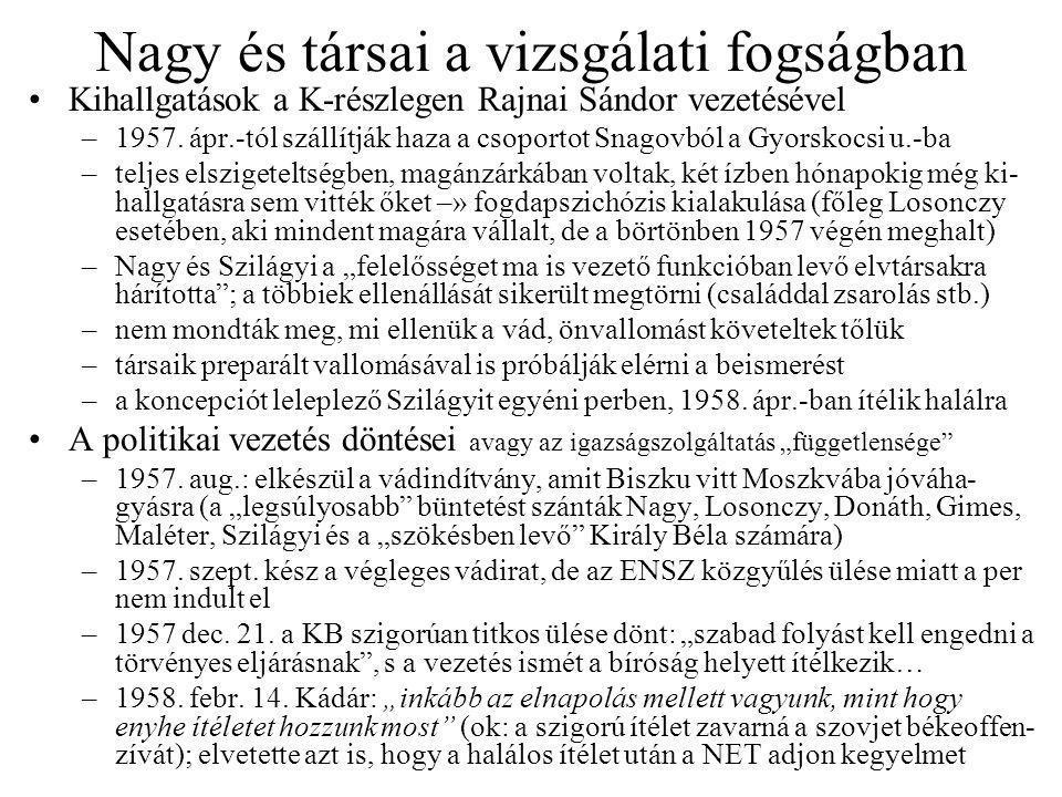 Nagy és társai a vizsgálati fogságban Kihallgatások a K-részlegen Rajnai Sándor vezetésével –1957.
