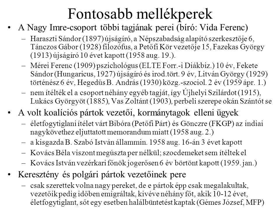 Fontosabb mellékperek A Nagy Imre-csoport többi tagjának perei (bíró: Vida Ferenc) –Haraszti Sándor (1897) újságíró, a Népszabadság alapító szerkesztője 6, Tánczos Gábor (1928) filozófus, a Petőfi Kör vezetője 15, Fazekas György (1913) újságíró 10 évet kapott (1958 aug.
