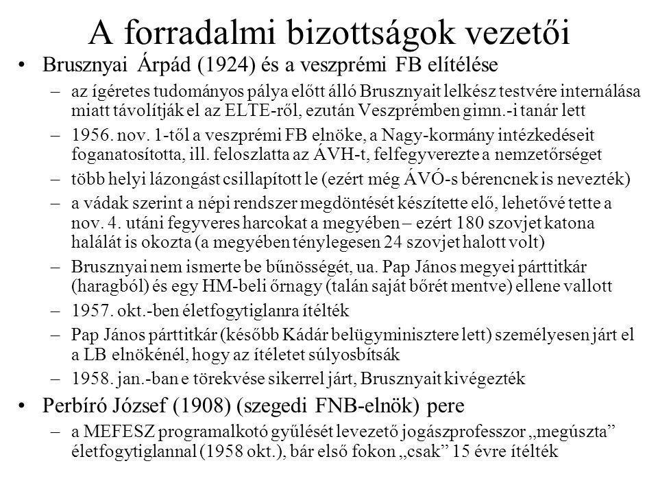 A forradalmi bizottságok vezetői Brusznyai Árpád (1924) és a veszprémi FB elítélése –az ígéretes tudományos pálya előtt álló Brusznyait lelkész testvére internálása miatt távolítják el az ELTE-ről, ezután Veszprémben gimn.-i tanár lett –1956.