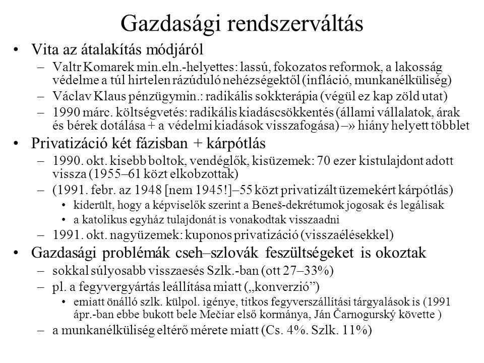 Gazdasági rendszerváltás Vita az átalakítás módjáról –Valtr Komarek min.eln.-helyettes: lassú, fokozatos reformok, a lakosság védelme a túl hirtelen r
