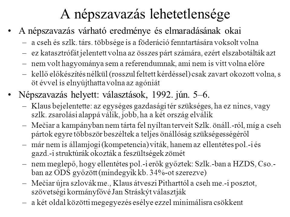 Szétválási tárgyalások Mečiar és Klaus elképzelései –Mečiar: a szlovákok államalkotó nemzet akarnak lenni –Klaus: ebben az esetben a csehek is, de a válásról gyorsan kell megegyezni a gazd.