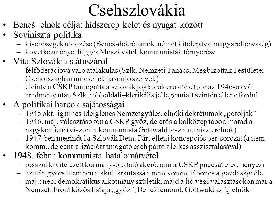 Csehszlovákia Beneš elnök célja: hídszerep kelet és nyugat között Soviniszta politika –kisebbségek üldözése (Beneš-dekrétumok, német kitelepítés, magy