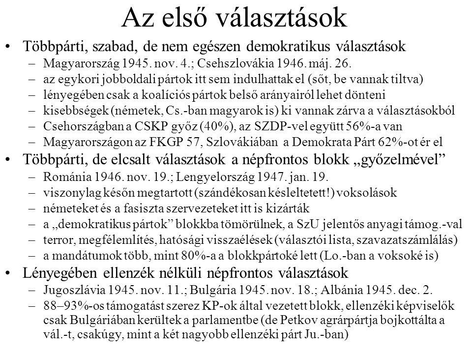 Az első választások Többpárti, szabad, de nem egészen demokratikus választások –Magyarország 1945. nov. 4.; Csehszlovákia 1946. máj. 26. –az egykori j
