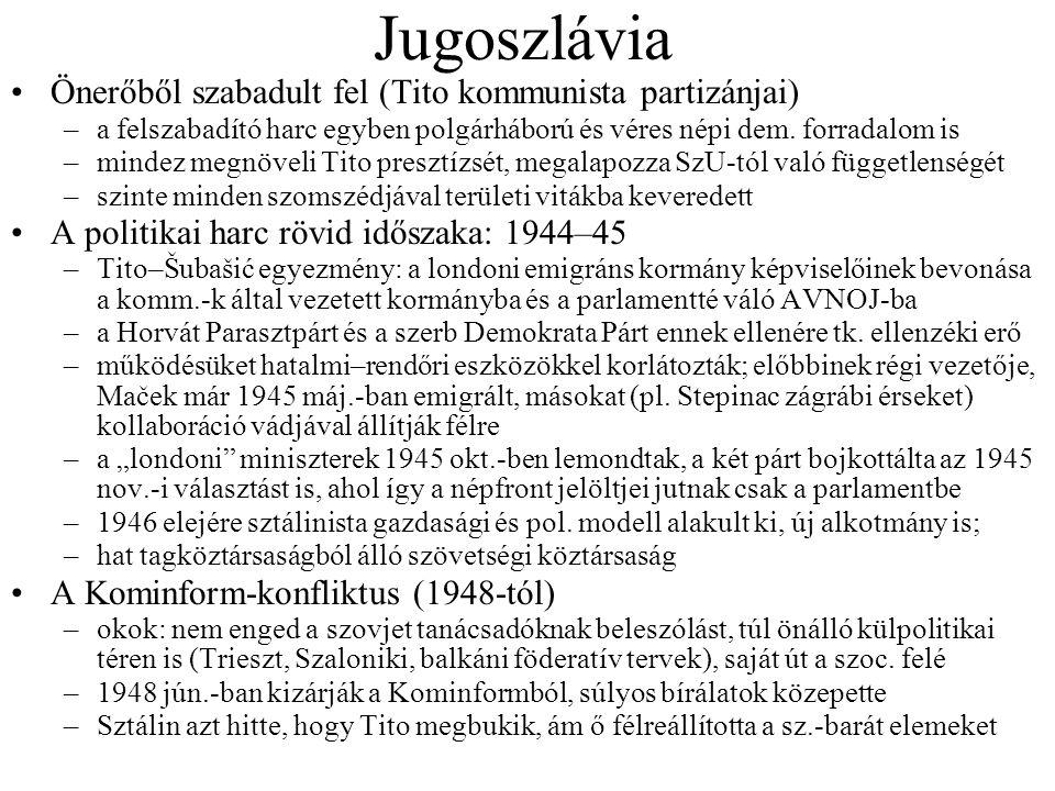 Bulgária és Albánia Albánia 1948-ig szinte egy országként műkö- dött Jug.-val Antifasiszta Nemzeti Felszabadító Tanács (1945); még abban az évben kilépnek belőle a gyenge nem kommunista erők Demokratikus Front néven győz az 1945 dec.-i választáson, 1946.