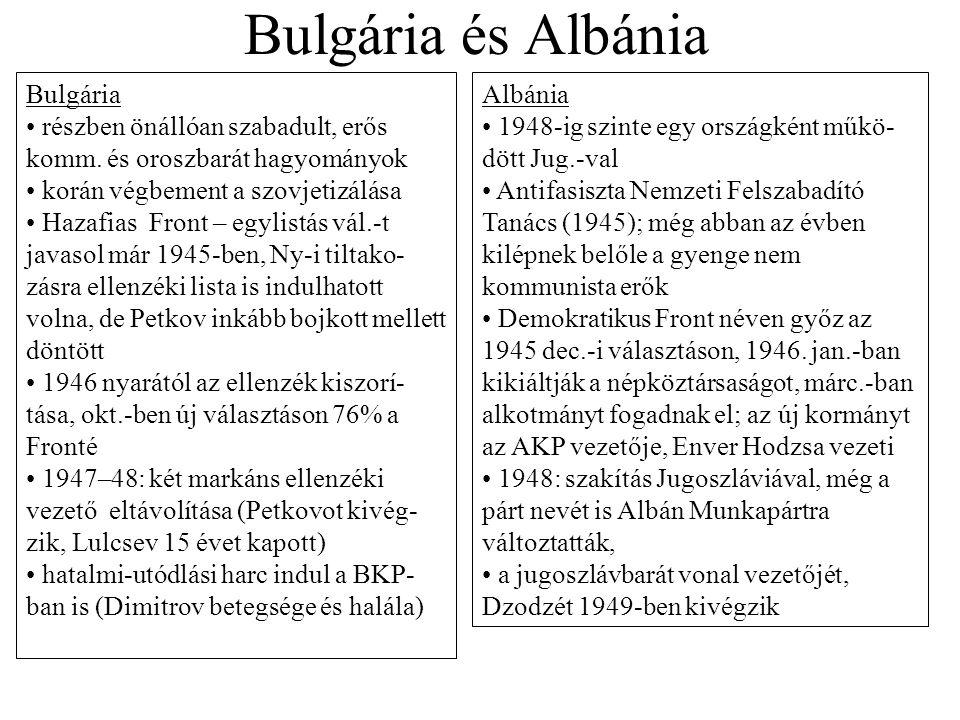 Bulgária és Albánia Albánia 1948-ig szinte egy országként műkö- dött Jug.-val Antifasiszta Nemzeti Felszabadító Tanács (1945); még abban az évben kilé