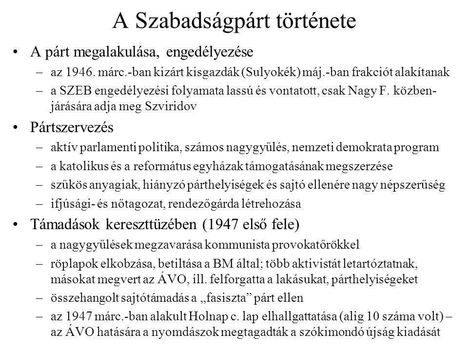 A Szabadságpárt története A párt megalakulása, engedélyezése –az 1946. márc.-ban kizárt kisgazdák (Sulyokék) máj.-ban frakciót alakítanak –a SZEB enge