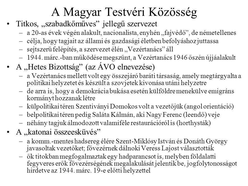 """A Magyar Testvéri Közösség Titkos, """"szabadkőműves jellegű szervezet –a 20-as évek végén alakult, nacionalista, enyhén """"fajvédő , de németellenes –célja, hogy tagjait az állami és gazdasági életben befolyáshoz juttassa –sejtszerű felépítés, a szervezet élén """"Vezértanács áll –1944."""