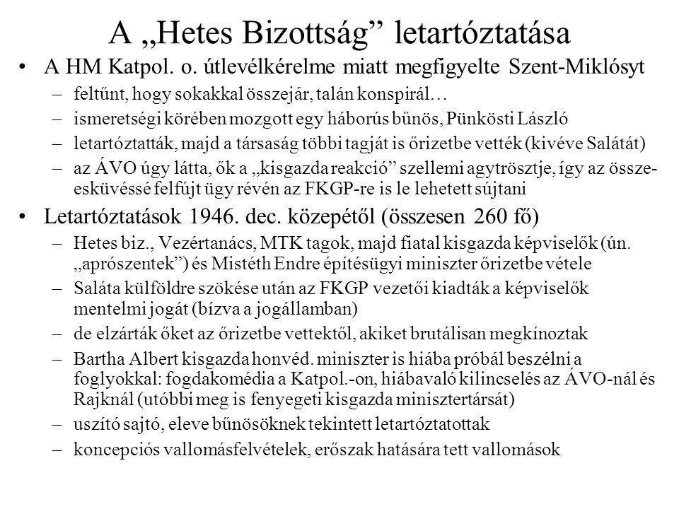 """A """"Hetes Bizottság"""" letartóztatása A HM Katpol. o. útlevélkérelme miatt megfigyelte Szent-Miklósyt –feltűnt, hogy sokakkal összejár, talán konspirál…"""