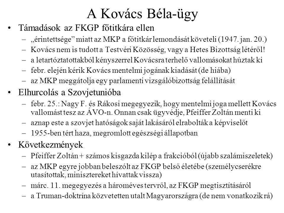 """A Kovács Béla-ügy Támadások az FKGP főtitkára ellen –""""érintettsége"""" miatt az MKP a főtitkár lemondását követeli (1947. jan. 20.) –Kovács nem is tudott"""