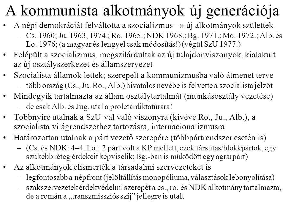 A kommunista alkotmányok új generációja A népi demokráciát felváltotta a szocializmus –» új alkotmányok születtek –Cs. 1960; Ju. 1963, 1974.; Ro. 1965