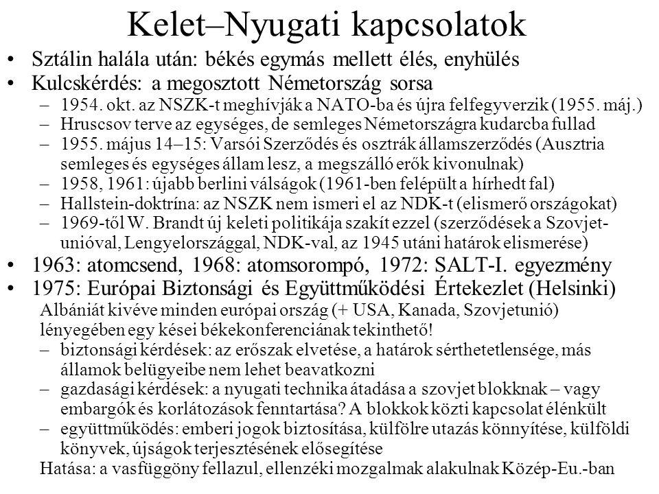 Kelet–Nyugati kapcsolatok Sztálin halála után: békés egymás mellett élés, enyhülés Kulcskérdés: a megosztott Németország sorsa –1954. okt. az NSZK-t m