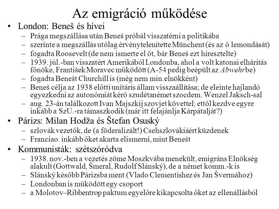 Az emigráció működése London: Beneš és hívei –Prága megszállása után Beneš próbál visszatérni a politikába –szerinte a megszállás utólag érvénytelenít