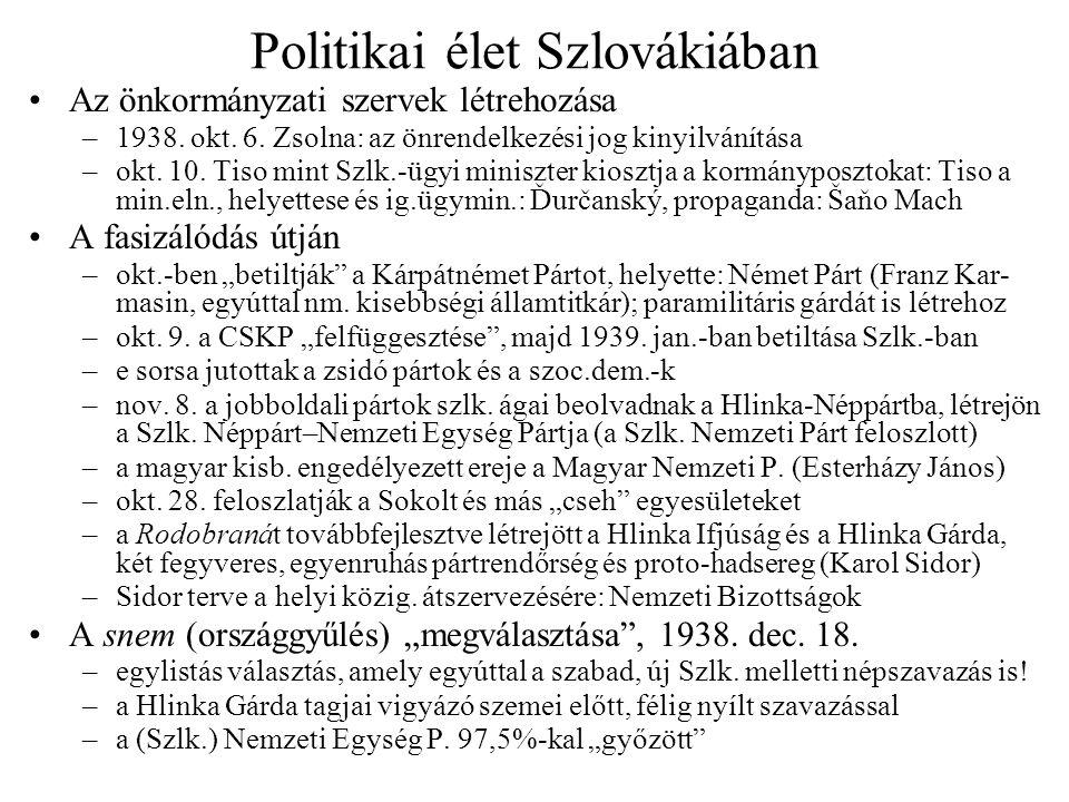 Politikai élet Szlovákiában Az önkormányzati szervek létrehozása –1938. okt. 6. Zsolna: az önrendelkezési jog kinyilvánítása –okt. 10. Tiso mint Szlk.