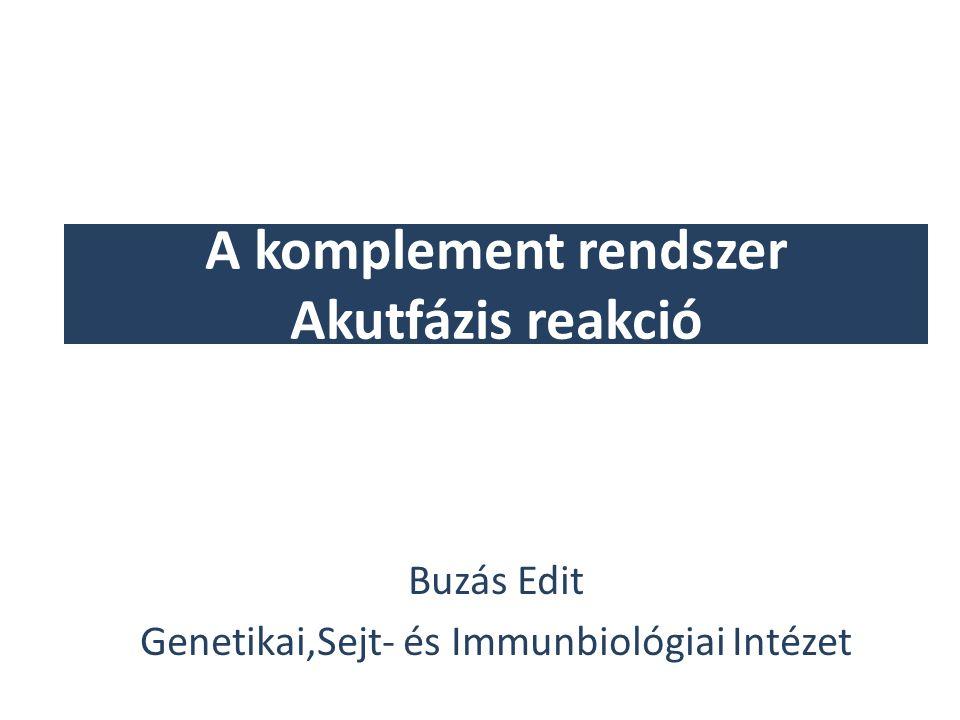 A komplement rendszer Akutfázis reakció Buzás Edit Genetikai,Sejt- és Immunbiológiai Intézet
