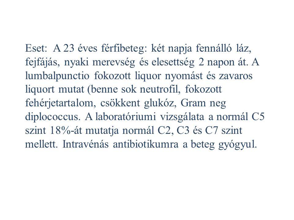 Eset: A 23 éves férfibeteg: két napja fennálló láz, fejfájás, nyaki merevség és elesettség 2 napon át. A lumbalpunctio fokozott liquor nyomást és zava