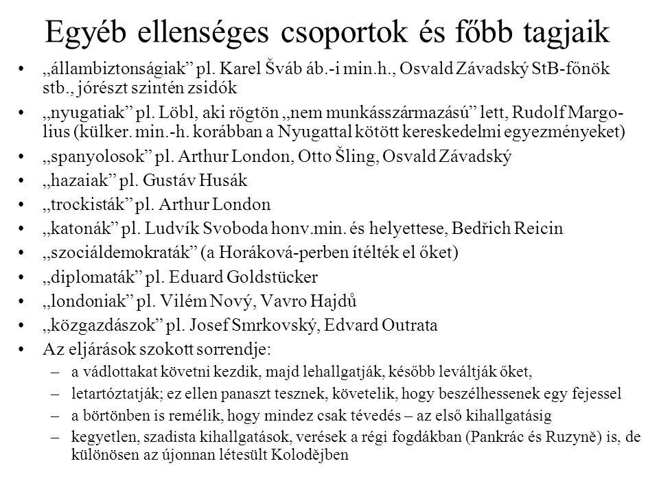 """Egyéb ellenséges csoportok és főbb tagjaik """"állambiztonságiak"""" pl. Karel Šváb áb.-i min.h., Osvald Závadský StB-főnök stb., jórészt szintén zsidók """"ny"""