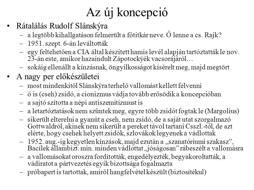 Az új koncepció Rátalálás Rudolf Slánskýra –a legtöbb kihallgatáson felmerült a főtitkár neve. Ő lenne a cs. Rajk? –1951. szept. 6-án leváltották –egy