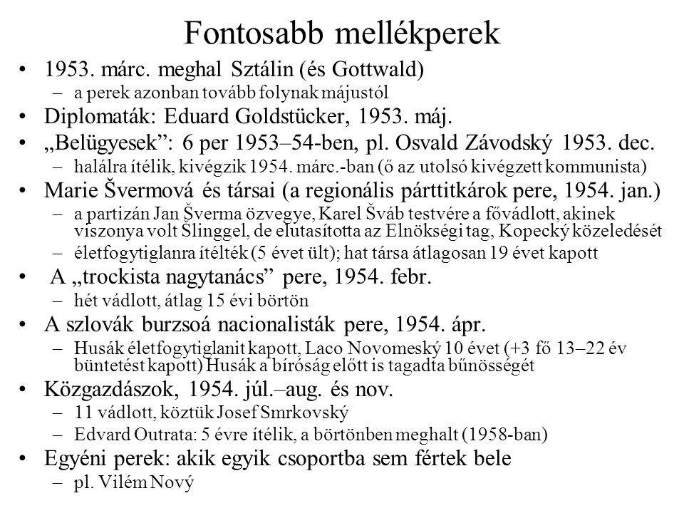 """Fontosabb mellékperek 1953. márc. meghal Sztálin (és Gottwald) –a perek azonban tovább folynak májustól Diplomaták: Eduard Goldstücker, 1953. máj. """"Be"""