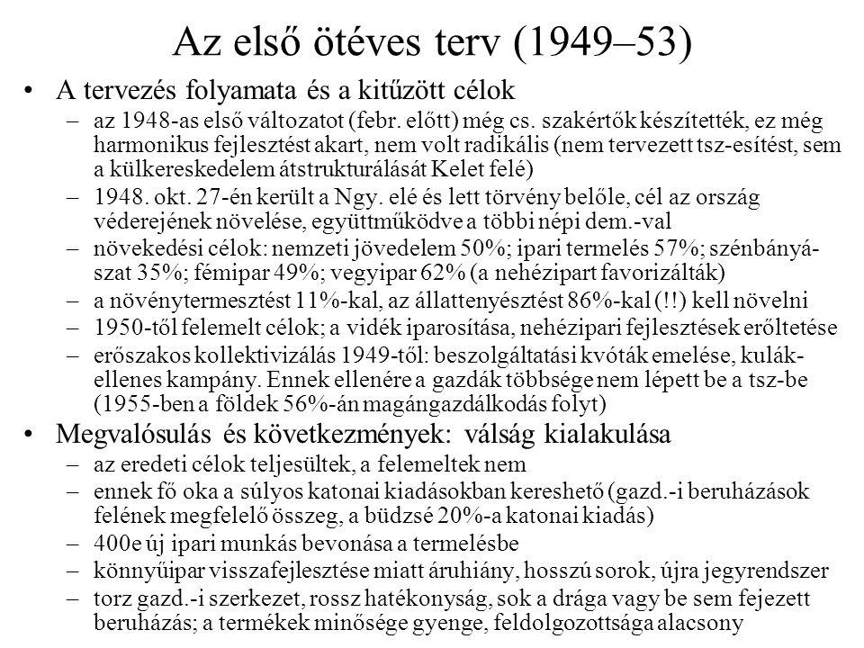 Társadalmi elégedetlenség, ellenállás Elégedetlenség a gazdasági helyzettel –bár a fizetések nagyok, de a boltok üresek – felhalmozódó vagyonok –1951 végén bércsökkentés (karácsonyi prémium megvonása) –sztrájkok, tüntetések Brno, Kladno és Ostrava vidékén; a népi milícia verte le –a többi szocialista országnál még így is sokkal jobb ellátás volt Čs.-ban!.