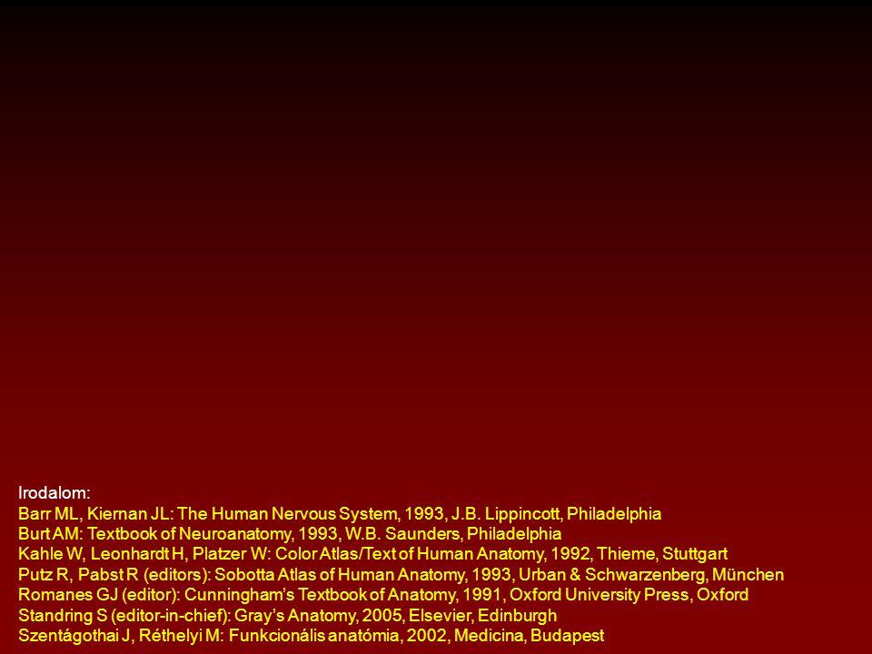 Irodalom: Barr ML, Kiernan JL: The Human Nervous System, 1993, J.B. Lippincott, Philadelphia Burt AM: Textbook of Neuroanatomy, 1993, W.B. Saunders, P
