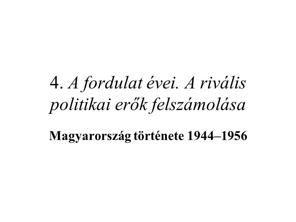 """A """"Lex Sulyok A parlament feloszlatásának okai –a Nemzetgyűlésben megszűnt az FKGP többsége, de még 44,5%-a van –az ellenzékkel együtt még mindig leszavazhatja a BB-t Az új választójogi törvény (1947."""