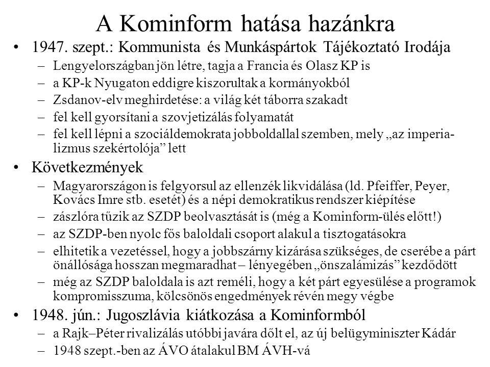 Támadás az SZDP jobbszárnya ellen A valódi jobbszárny eltávolítása még 1947 nyarán megtörtént A pártnak ezután három erőssége volt, ezeket kellett megtörni: Az SZDP Szervezési Főosztálya (Szélig Imre) –1947.