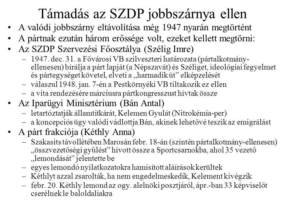 Koncepciós perek az SZDP ellen Peyer Károly, Gábor Róbert, Pisky-Schmidt Frigyes –Peyertől 1947.