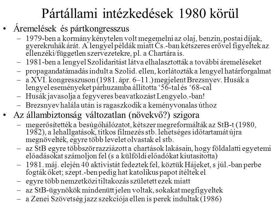 Pártállami intézkedések 1980 körül Áremelések és pártkongresszus –1979-ben a kormány kénytelen volt megemelni az olaj, benzin, postai díjak, gyerekruhák árát.
