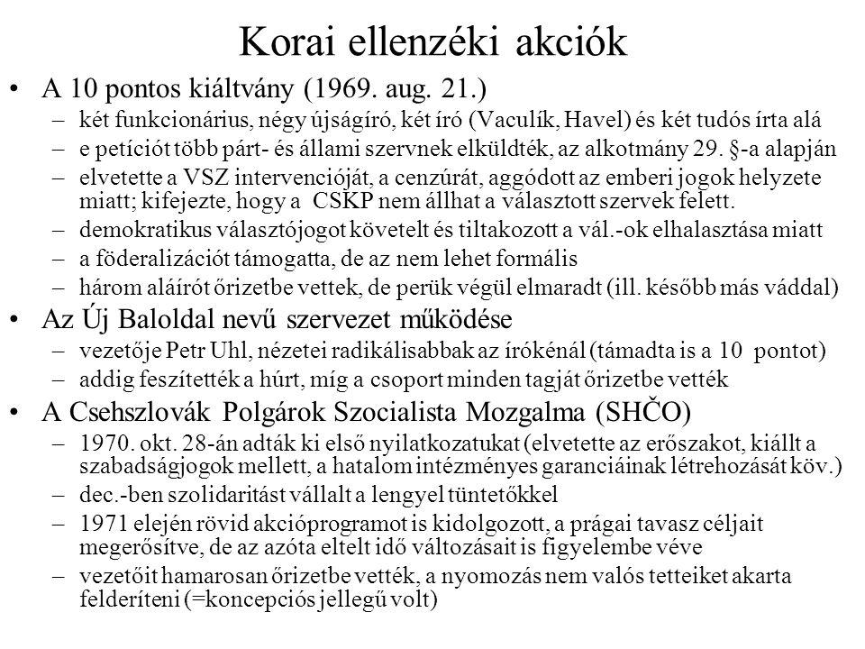 Korai ellenzéki akciók A 10 pontos kiáltvány (1969.