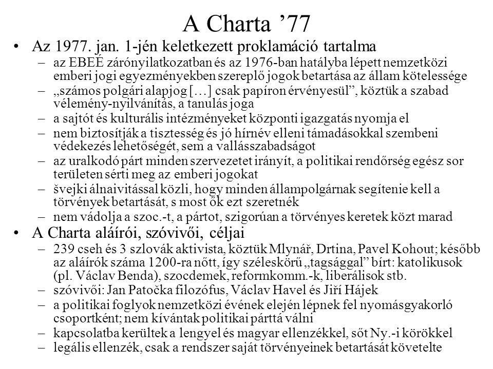 A Charta rövid távú következményei A petíció átadásának kísérlete –Havel, Vaculík és Pavel Landovský jan.