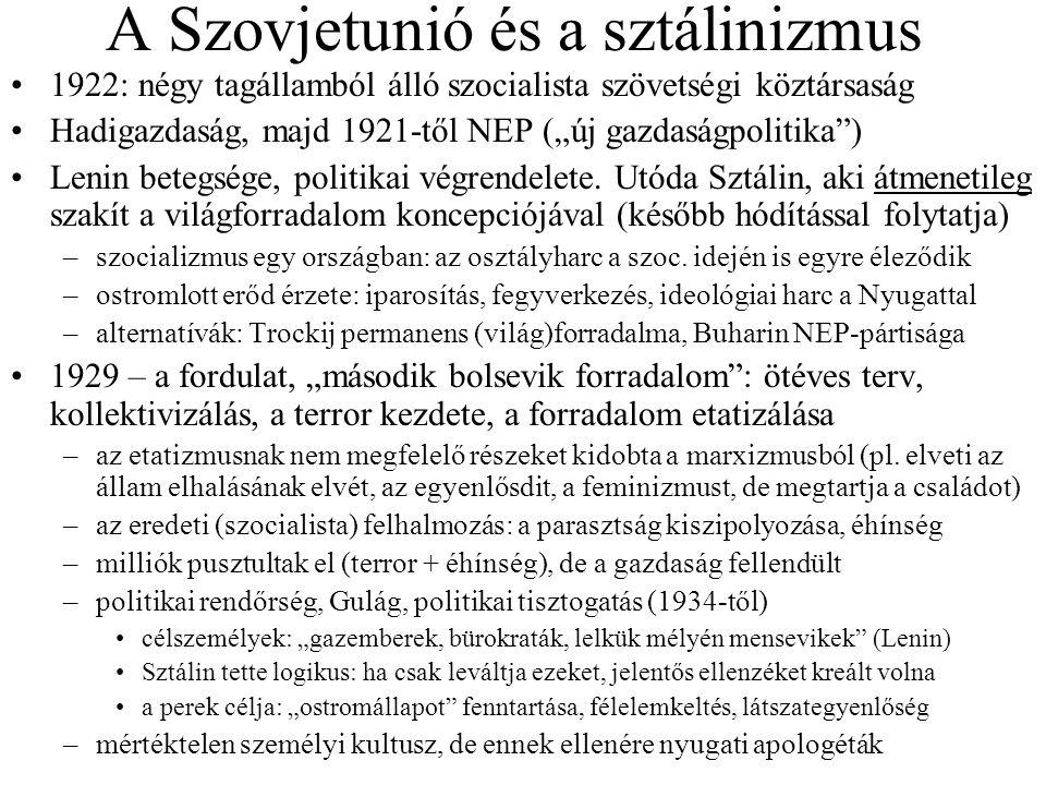 """A Szovjetunió és a sztálinizmus 1922: négy tagállamból álló szocialista szövetségi köztársaság Hadigazdaság, majd 1921-től NEP (""""új gazdaságpolitika ) Lenin betegsége, politikai végrendelete."""