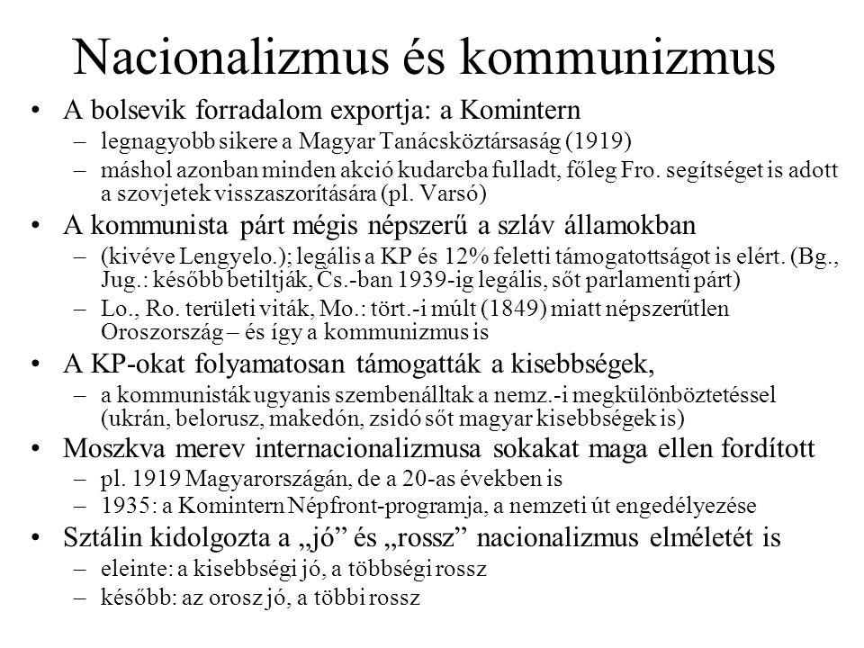 Nacionalizmus és kommunizmus A bolsevik forradalom exportja: a Komintern –legnagyobb sikere a Magyar Tanácsköztársaság (1919) –máshol azonban minden akció kudarcba fulladt, főleg Fro.