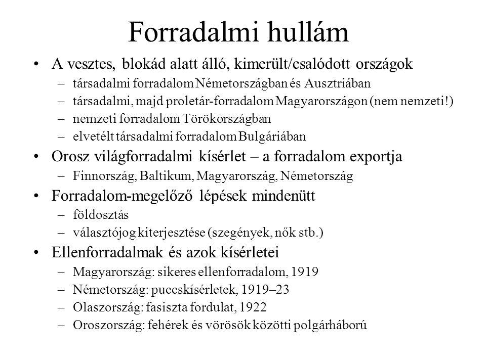 Forradalmi hullám A vesztes, blokád alatt álló, kimerült/csalódott országok –társadalmi forradalom Németországban és Ausztriában –társadalmi, majd proletár-forradalom Magyarországon (nem nemzeti!) –nemzeti forradalom Törökországban –elvetélt társadalmi forradalom Bulgáriában Orosz világforradalmi kísérlet – a forradalom exportja –Finnország, Baltikum, Magyarország, Németország Forradalom-megelőző lépések mindenütt –földosztás –választójog kiterjesztése (szegények, nők stb.) Ellenforradalmak és azok kísérletei –Magyarország: sikeres ellenforradalom, 1919 –Németország: puccskísérletek, 1919–23 –Olaszország: fasiszta fordulat, 1922 –Oroszország: fehérek és vörösök közötti polgárháború