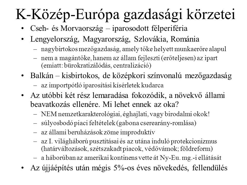 K-Közép-Európa gazdasági körzetei Cseh- és Morvaország – iparosodott félperiféria Lengyelország, Magyarország, Szlovákia, Románia –nagybirtokos mezőgazdaság, amely tőke helyett munkaerőre alapul –nem a magántőke, hanem az állam fejleszti (erőteljesen) az ipart (emiatt: bürokratizálódás, centralizáció) Balkán – kisbirtokos, de középkori színvonalú mezőgazdaság –az importpótló iparosítási kísérletek kudarca Az utóbbi két rész lemaradása fokozódik, a növekvő állami beavatkozás ellenére.
