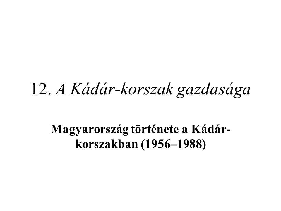 12. A Kádár-korszak gazdasága Magyarország története a Kádár- korszakban (1956–1988)
