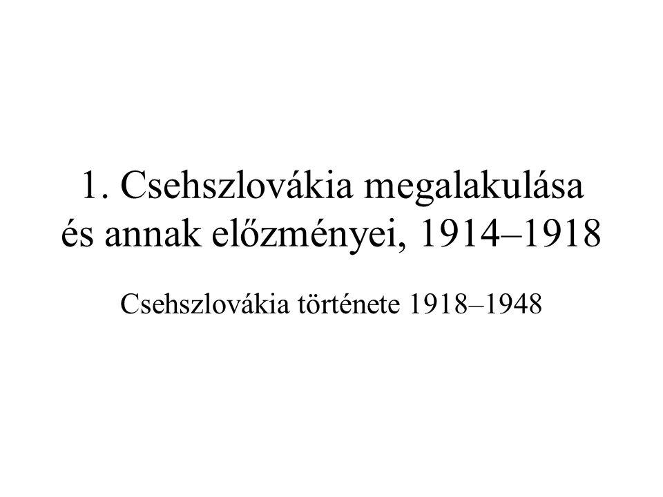Az alapító atyák Tomáš Garrigue Masaryk (1850–1937) –szlovák apa, morva/német anya, katolikus család; hívő, de antiklerikális –1883-tól a prágai cseh egyetemen filozófiatanár, liberális szabadgondolkodó –1891–93 és 1907–15: a Reichsrat képviselője (Progresszív [Realista] Párt) –megvédte a a rituális gyilkossággal vádolt zsidó Leopold Hilsnert –kiállt a nők jogaiért, amerikai felesége (Charlotte Garrigue) nevét is felvette –eredetileg Palacký ausztroszlávizmusának talaján állt, 1909-ben előterjesztett egy föderalizálási tervet; 1914 végén ébredt rá, hogy Bécs nem fog engedni –egy 1909-es zágrábi felségáruló perben szintén megvédte a vádlottakat Edvard Beneš (1884–1948) –TGM tanítványa, jogi doktorátust szerzett, újságíróként dolgozott –disszertációját a cseh kérdésről Dijon-ban nem fogadták el –sántítást színlelve úszta meg a besorozást 1914-ben Milan Rastislav Štefánik (1880–1919) –szlovák volt, prágai tanulmányai után 1904-ben emigrált –csillagász és meteorológus, híres tudóssá vált Franciao.-ban –1914-ben önként csatlakozott a fr.