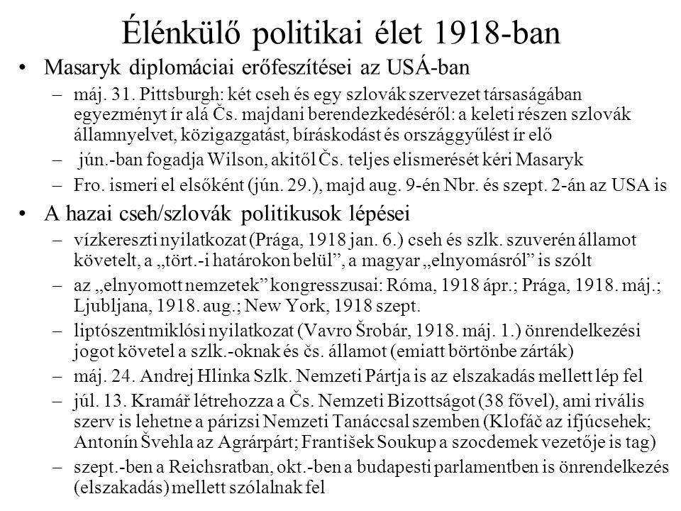 Élénkülő politikai élet 1918-ban Masaryk diplomáciai erőfeszítései az USÁ-ban –máj. 31. Pittsburgh: két cseh és egy szlovák szervezet társaságában egy