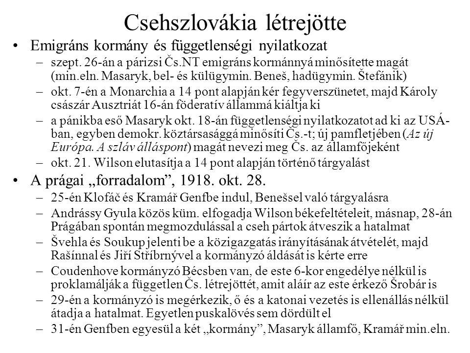 Csehszlovákia létrejötte Emigráns kormány és függetlenségi nyilatkozat –szept. 26-án a párizsi Čs.NT emigráns kormánnyá minősítette magát (min.eln. Ma