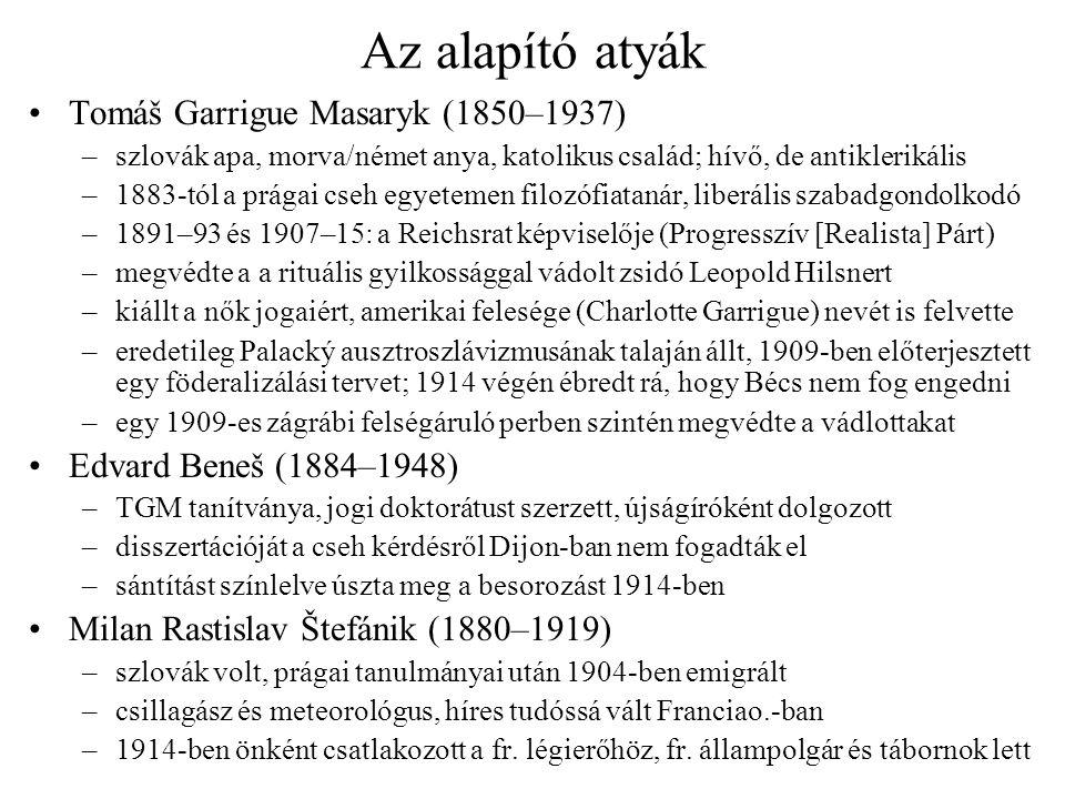 Az alapító atyák Tomáš Garrigue Masaryk (1850–1937) –szlovák apa, morva/német anya, katolikus család; hívő, de antiklerikális –1883-tól a prágai cseh