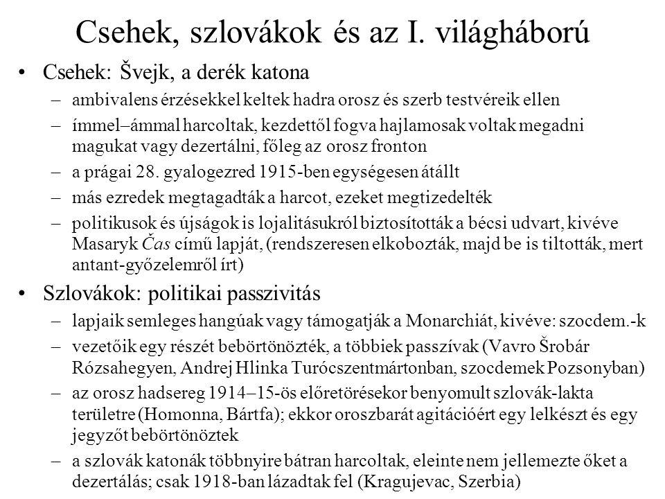 Csehek, szlovákok és az I. világháború Csehek: Švejk, a derék katona –ambivalens érzésekkel keltek hadra orosz és szerb testvéreik ellen –ímmel–ámmal