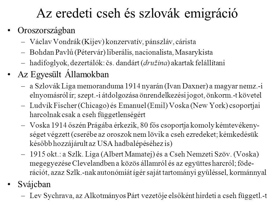Az eredeti cseh és szlovák emigráció Oroszországban –Václav Vondrák (Kijev) konzervatív, pánszláv, cárista –Bohdan Pavlů (Pétervár) liberális, naciona