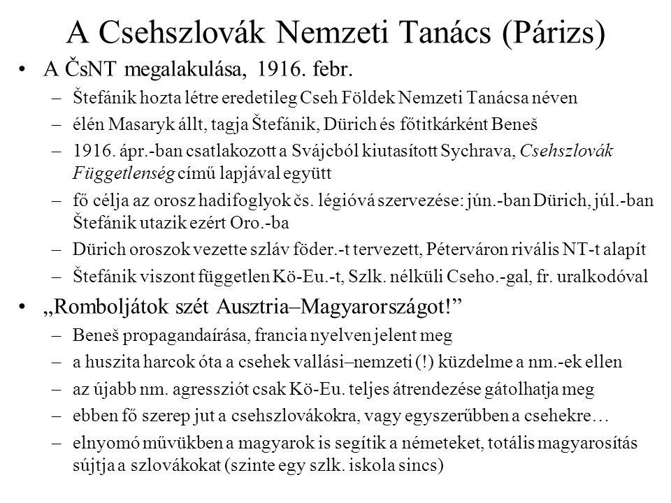 A Csehszlovák Nemzeti Tanács (Párizs) A ČsNT megalakulása, 1916. febr. –Štefánik hozta létre eredetileg Cseh Földek Nemzeti Tanácsa néven –élén Masary